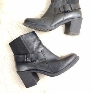 CROWN VINTAGE LEATHER CHUNK HEEL ANKLE BOOT SZ9